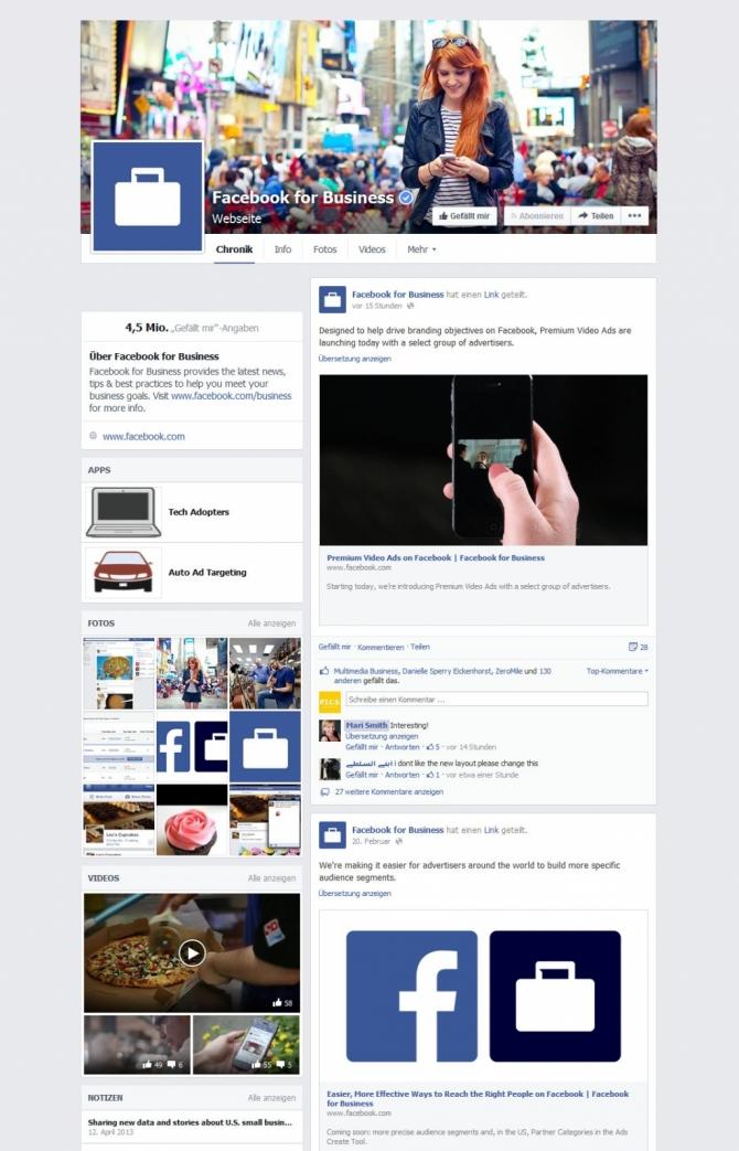 Das neue Facebook Page-Design