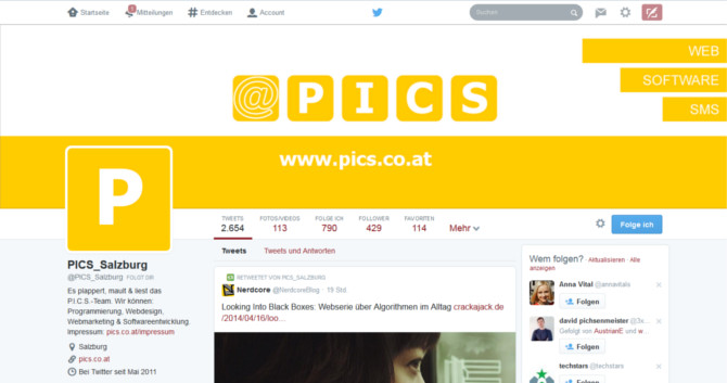 PICS-Account im neuen Twitter-Look