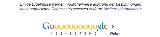 Google beginnt zu vergessen und weist darauf hin