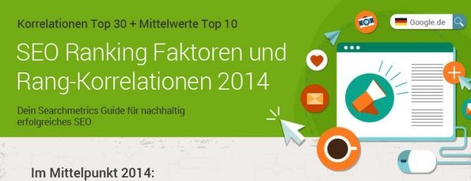 Rankingfaktoren 2014 - searchmetrics-Studie - Klick öffnet Studie