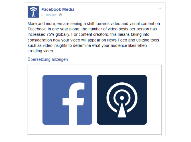 Facebook - Vormarsch von Videos
