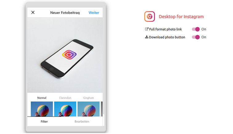 Chrome Add-on Desktop for Instagram