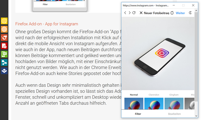 Firefox Add-on - App for Instagram