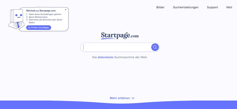 PICS Blog - Das Design der Suchmaschine Startpage
