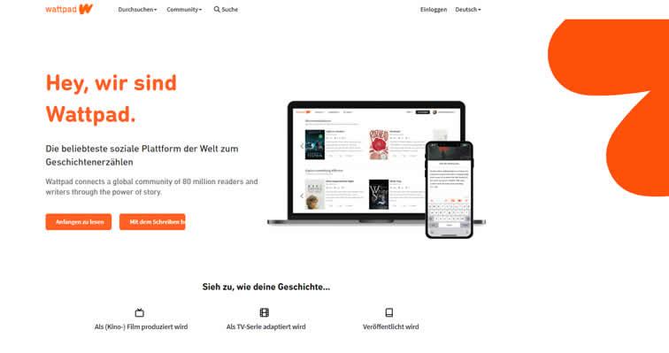 Geschichten Plattform - Wattpad - Screenshot