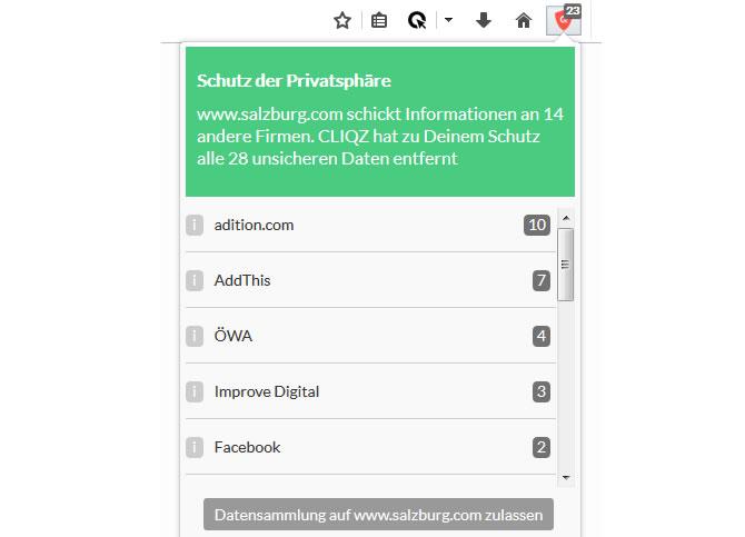 PICS-News - CLIQZ Anti-Tracking-Funktion